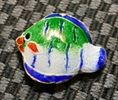 25mm Cloisonne Fish Beads (Green)