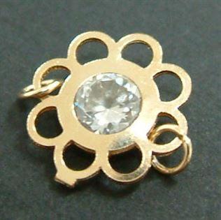 10mm Gold Filled Crystal Flower Link - with two rings
