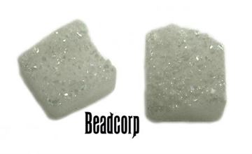 12mm Clear Square Druzy Cabochon