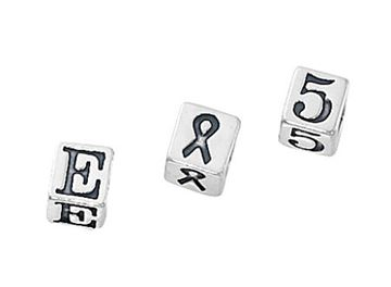 5.5mm Sterling Silver Letter Block Beads