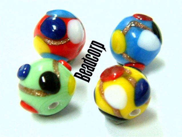 Czech 8mm Multicolor Dotted Beads