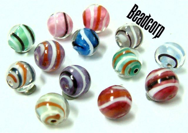 Czech 8mm Solid Swirl Beads