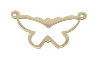 20x12mm Gold Filled Butterfly 2 Hole Charm Link - 24 ga.