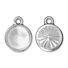 TierraCast Rivoli Drop, Faceted Round Frame, 14mm, Bright Rhodium Plated