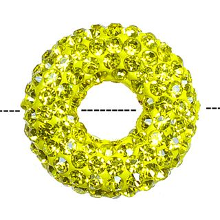 20x7mm Pave Crystal Doughnut Beads - Citrine