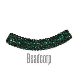 10x53mm Pave Crystal Tubes - Emerald