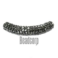 10x53mm Pave Crystal Tubes - Jet Hematite