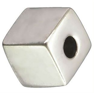 4mm Sterling Silver Square Cube Beads