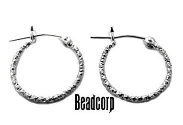 30mm Sterling Silver Glitter Hoop Earrings