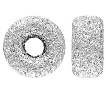8mm Sterling Silver Stardust Roundel Beads