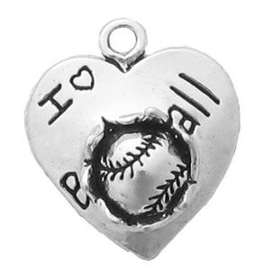 "Sterling Silver I ""heart"" Baseball Charm"