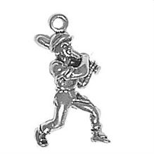 Sterling Silver Baseball Player  Charm