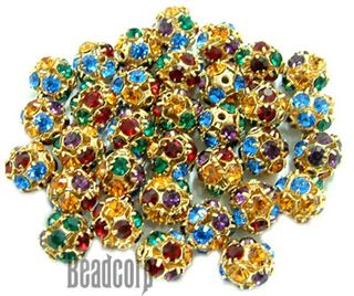 8mm Gold Plated Swarovski Rhinestone Ball - Multicolor