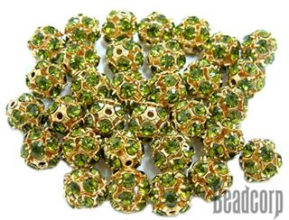 8mm Gold Plated Swarovski Rhinestone Ball - Olivine