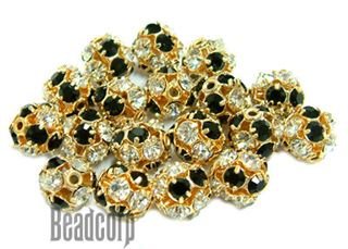8mm Gold Plated Swarovski Rhinestone Ball - Jet/Crystal