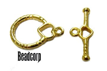 14.5mm Gold Vermeil Heart Toggle Clasp