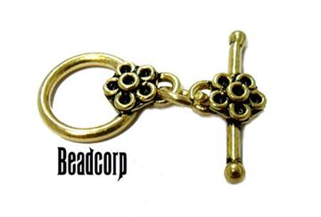14mm Gold Vermeil Flower Toggle Clasp