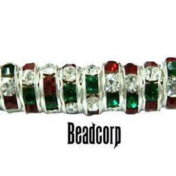 8mm Christmas Rondell Bead sold each