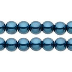 "8mm Dark Blue Glass Pearls 16"" Strand   *** Clearance ***"