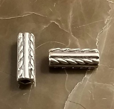 10x4mm Sterling Silver Casted Ornate Square Tube Beads  *** Clearance ***