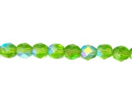 Peridot AB 8mm Fire Polish Beads - 50 pcs *** Clearance ***