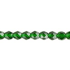 Emerald 8mm fire polish beads - 50 pcs   *** Clearance ***
