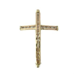 Gold Filled Cubic Zirconia Cross Bracelet & Necklace Bar - 36.5x22mm