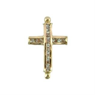 Gold Filled Cubic Zirconia Cross Bracelet & Necklace Bar - 21x13mm