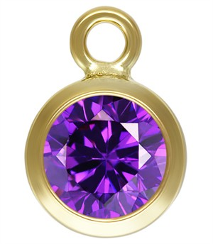 7.5mm Gold Filled Bezel Drop 3A CZ - Amethyst