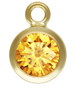 4mm Gold Filled Bezel Drop 3A CZ - Light Topaz