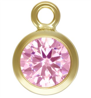 4mm Gold Filled Bezel Drop 3A CZ - Pink