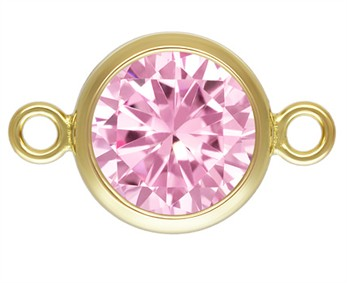 6mm Gold Filled Bezel Connector 3A CZ - Pink