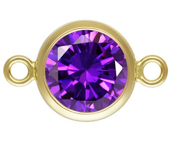 7.5mm Gold Filled Bezel Connector 3A CZ - Amethyst