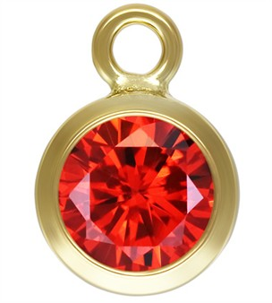 6mm Gold Filled Bezel Drop 3A CZ - Ruby