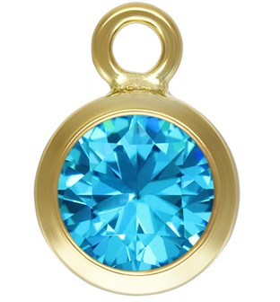 6mm Gold Filled Bezel Drop 3A CZ - Aquamarine