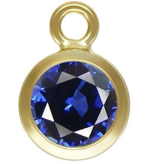 6mm Gold Filled Bezel Drop 3A CZ - Sapphire