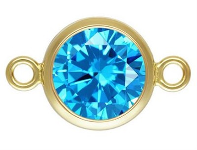 6mm Gold Filled Bezel Connector 3A CZ - Aquamarine