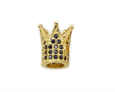 10x12mm Gold Plated King Crown Beads Micro CZ Pave with Jet Zircon