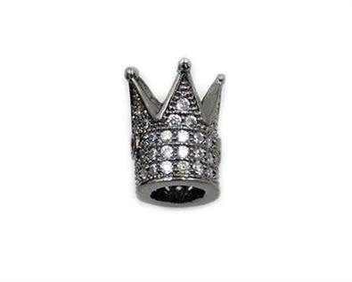 10x12mm Black Plated King Crown Beads Micro CZ Pave with Clear Zircon