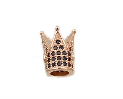 10x12mm Rose Plated King Crown Beads Micro CZ Pave with Black Zircon