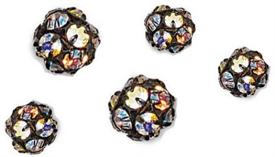 5201 - 10mm Oxidized Swarovski Rhinestone Ball - Crystal AB