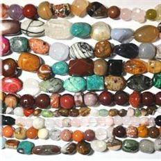 10 Strands of Semi Precious Mixed Stone Beads