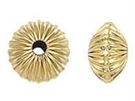 13.25x8.25mm Gold Filled Corrugated Saucer Beads - 1 piece