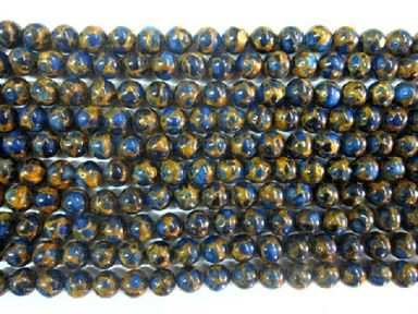 gold blue quartz round beads 16 strand