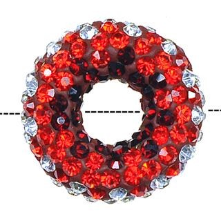 20x7mm Pave Crystal Doughnut Beads - Siam / Crystal Mix