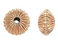 4.4mm Rose Gold Filled Corrugated Saucer Beads
