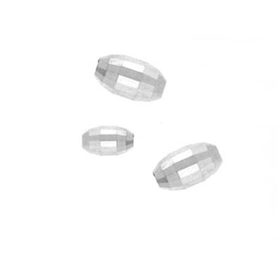 3x5mm Sterling Silver Oval Mirror Beads