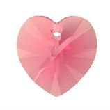 Swarovski 6228 Top Drill Heart Beads - Indian Pink