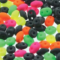 Superduo Beads 2.5x5mm Day Glow Brights Mix - Apprx 24GM/TB