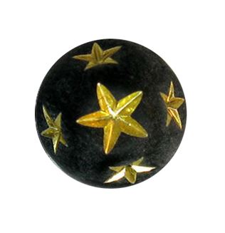10mm Gold Star Round Beads - Black